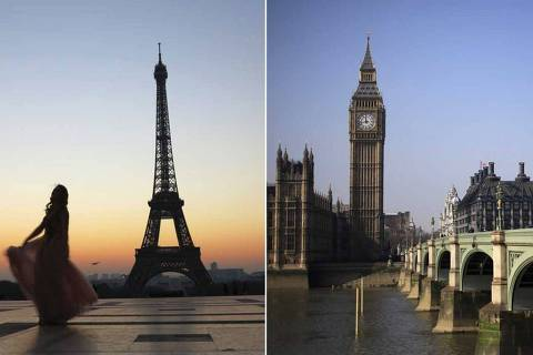 Montagem paris Londres,  in Paris./ AFP PHOTO / Ludovic MARIN, LONDON/HOSPITALITY         REUTERS/Stefan Wermuth