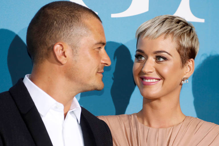 Katy Perry e Orlando Bloom em evento em Mônaco