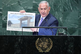 Israeli Prime Minister Benjamin Netanyahu addresses the 73rd session of the United Nations General Assembly at U.N. headquarters in New York,