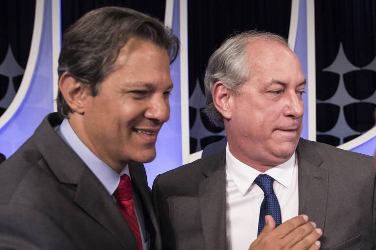 Os presidenciáveis  Fernando Haddad (PT) e Ciro Gomes (PDT)
