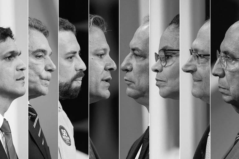 Da esq. para a dir., os candidatos à Presidência Cabo Daciolo (Patriota), Alvaro Dias ( Podemos), Guilherme Boulos (PSOL), Fernando Haddad (PT), Ciro Gomes (PDT), Marina Silva (Rede), Geraldo Alckmin (PSDB) e Henrique Meirelles (MDB) durante debate Folha, UOL e SBT