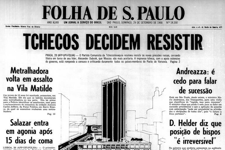 Primeira Página da Folha de 29 de setembro de 1968