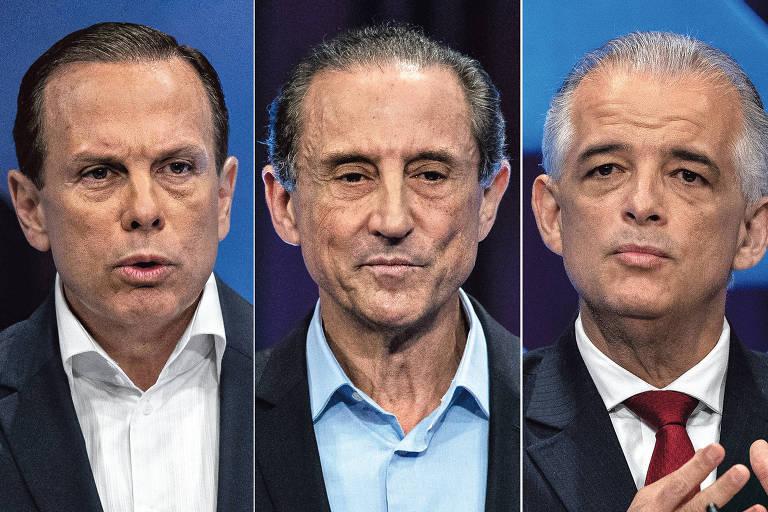 João Doria (PSDB), Paulo Skaf MDB) e Márcio França (PSB), candidatos ao governo de São Paulo