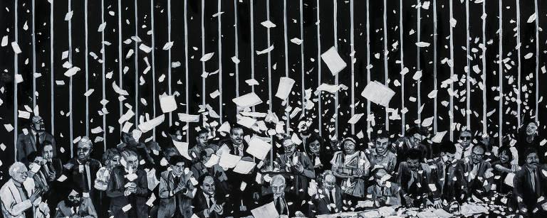 Papéis voando no plenário