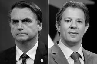 A combination of file photos shows presidential candidates Jair Bolsonaro and Fernando Haddad