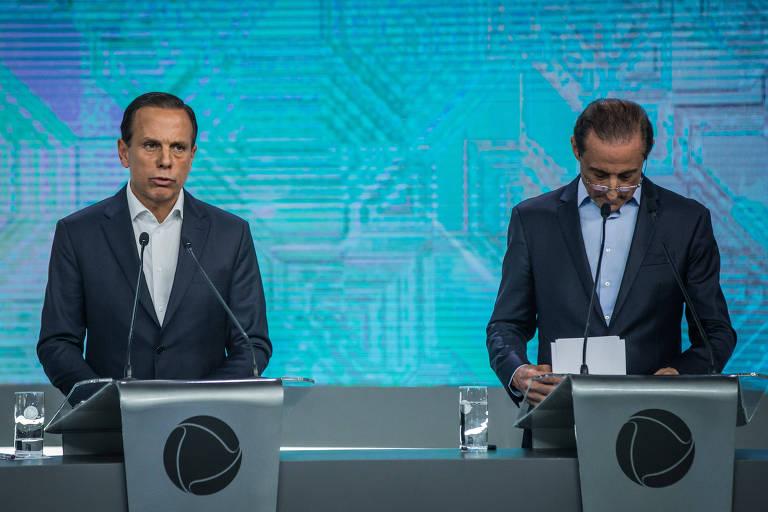 João Doria (PSDB) e Paulo Skaf (MDB) em debate de candidatos ao governo de SP