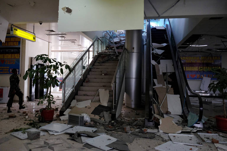 Damage caused by an earthquake is seen at Mutiara Sis Al Jufri Airport in Palu, Central Sulawesi