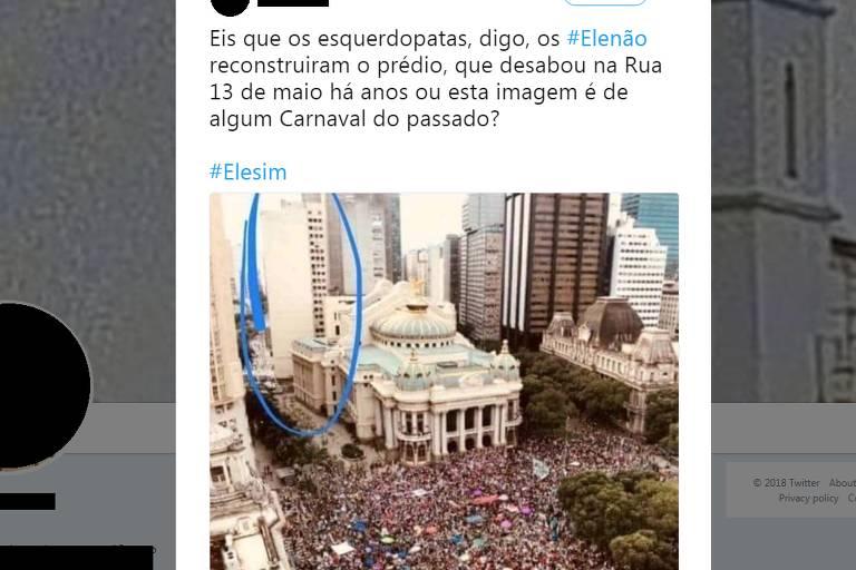 Prédio que desabou em 2012 não aparece em foto de manifestação das mulheres contra Bolsonaro no Rio