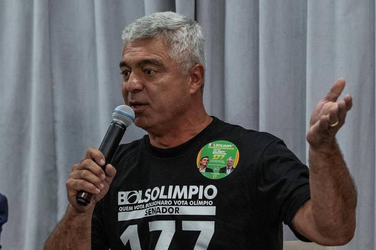 Major Olímpio (PSL) durante debate de candidatos ao Senado promovido pela Folha