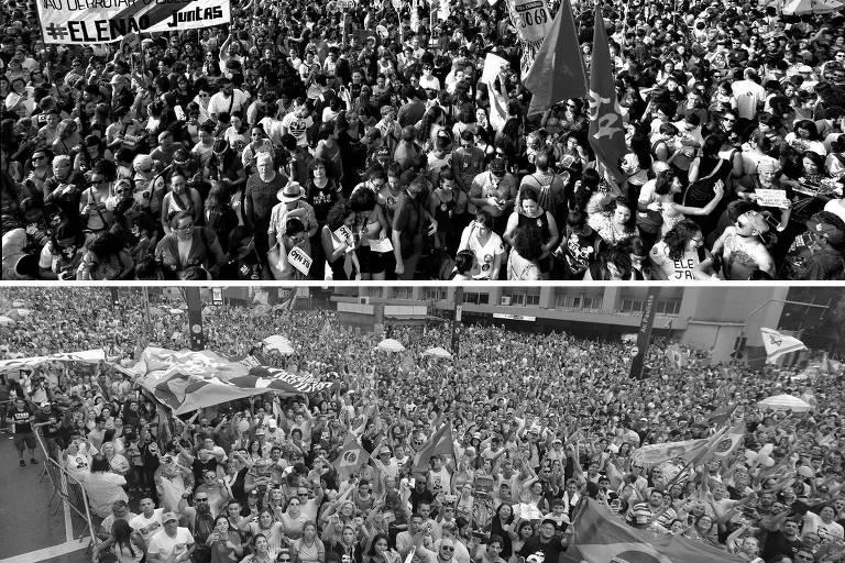 Acima, manifestação contra o presidenciável Jair Bolsonaro; abaixo, ato a favor dele
