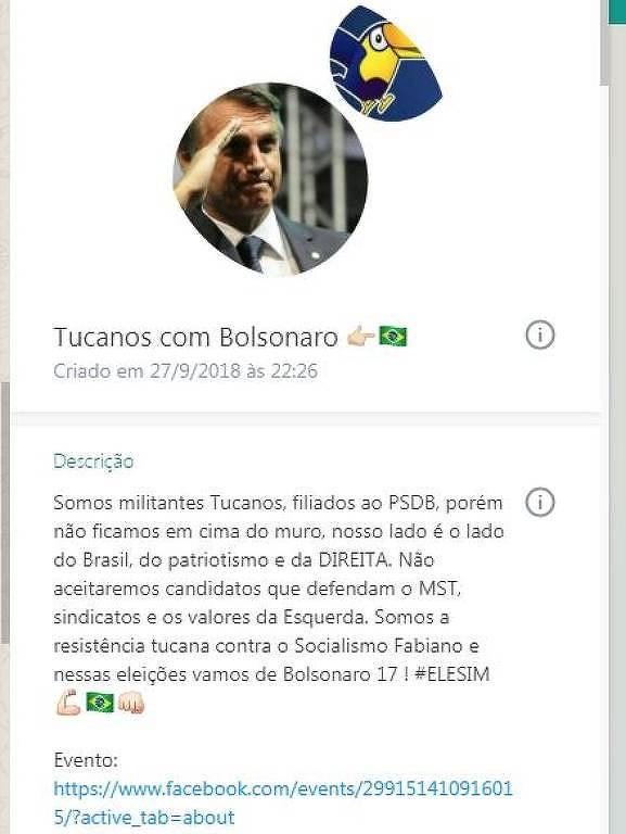 Grupo criado por jovens tucanos que decidiram apoiar a candidatura de Jair Bolsonaro (PSL) à Presidência