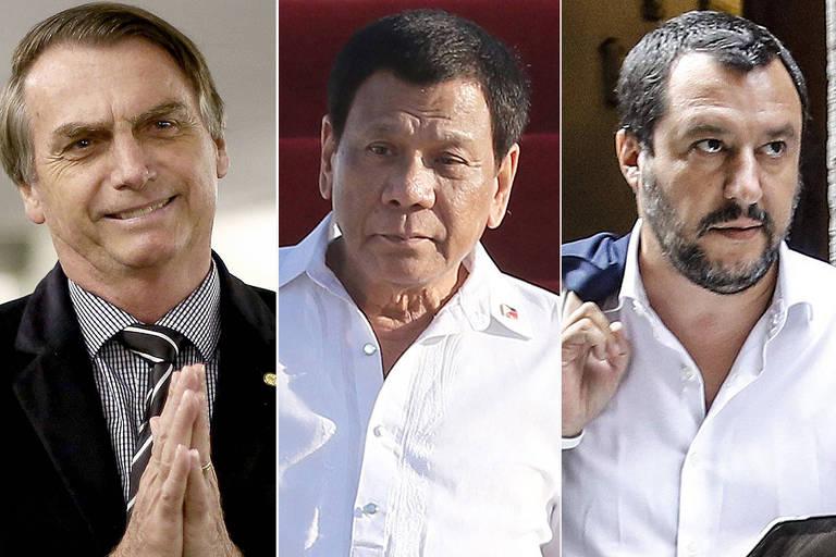O candidato à presidência Jair Bolsonaro, o presidente filipino Rodrigo Duterte e o vice-primeiro-ministro italiano Matteo Salvini
