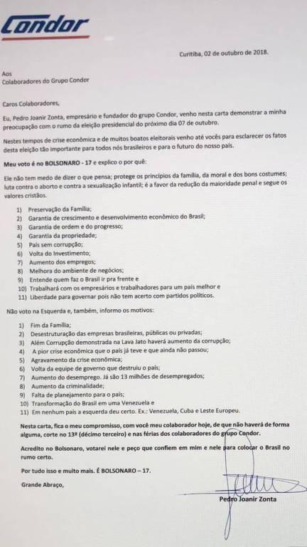 Carta Pedro Joanir Zonta pró-Bolsonaro