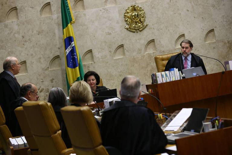 Sessão plenária do STF, sob a presidência do ministro Dias Toffoli