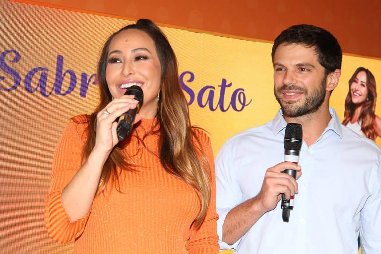 Sabrina Sato e Duda Nagle participam do lançamento da nova geração de fraldas descartáveis da Pom Pom, em São Paulo.