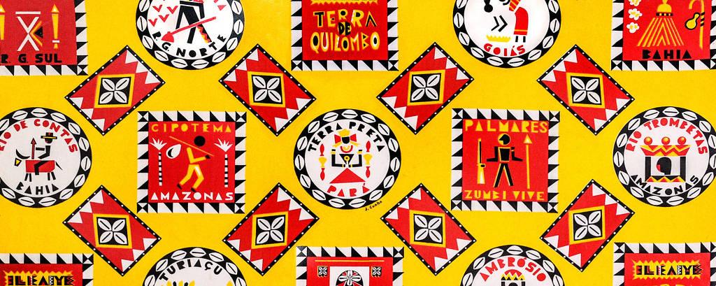 Ocupação Ilê Aiyê no Itaú Cultural. Tecido criado pelo artista Jota Cunha para o Carnaval de 2000 (tema: Terra de Quilombo) EXCLUSIVO ILUSTRADA
