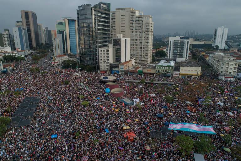 Ato contra o candidato à Presidência da República Jair Bolsonaro, no largo da Batata, em São Paulo