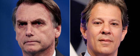 FILE PHOTO: A combination of file photos shows presidential candidate Jair Bolsonaro (L) attending a television debate at the Rede TV studio in Osasco, Brazil August 17, 2018, and presidential candidate Fernando Haddad attending a televised debate in Sao Paulo, Brazil September 26, 2018.  REUTERS/Paulo Whitaker/Nacho Doce/File Photo ORG XMIT: SMS401