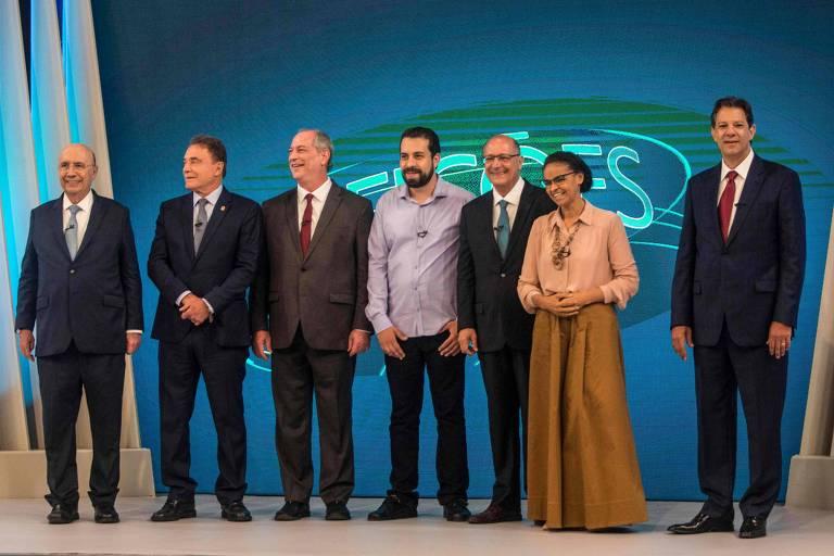 Da esquerda para a direita, Meirelles, Dias, Ciro, Boulos, Alckmin, Marina e Haddad