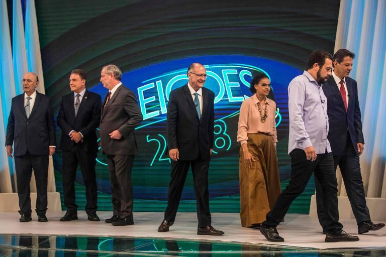 Presidenciáveis participam do último debate na TV antes do primeiro turno das eleição. Encontro foi promovido pela TV Globo