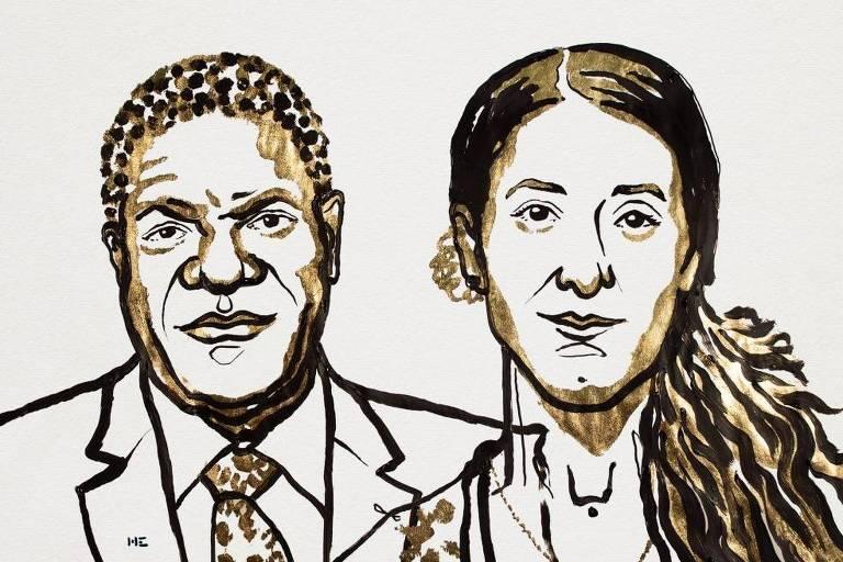 O médico Denis Mukwege e a yazidi Nadia Murad, em ilustração divulgada pelo Comitê do Nobel