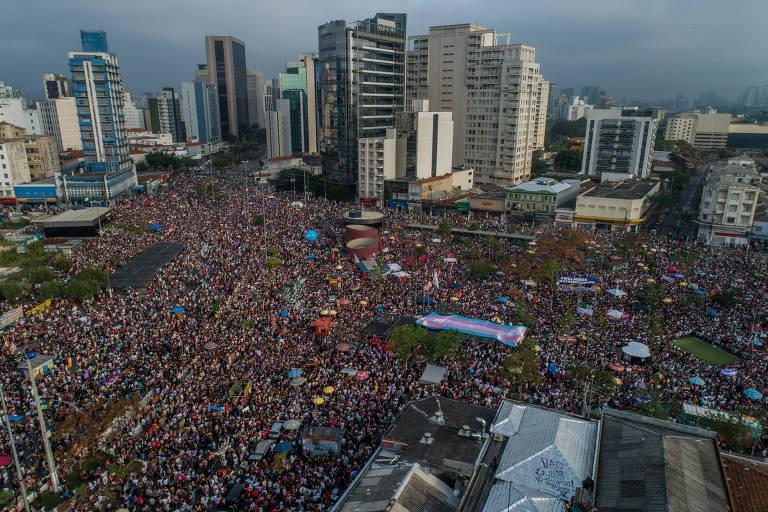 Ato contra o candidato à Presidência Jair Bolsonaro, no Largo da Batata, em São Paulo