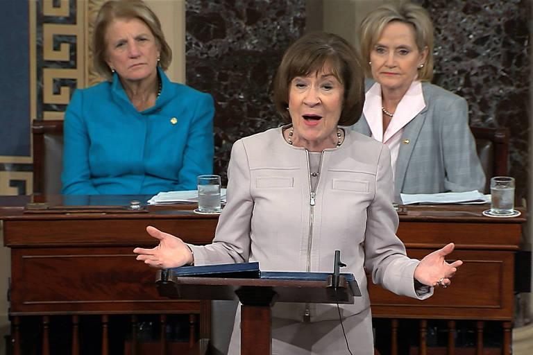 A senadora Susan Collins, republicana do Maine, fala sobre a confirmação de Kavanaugh no Senado americano