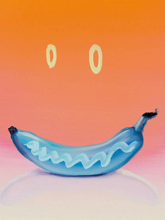 banana azul em fundo laranja
