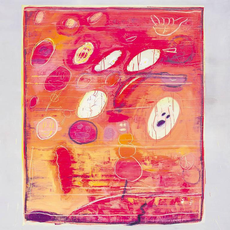 pintura em rosa, roxo e amarelo