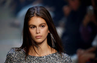 Kaia Gerber presents a creation by designer Isabel Marant as part of her Spring/Summer 2019 women's ready-to-wear collection show during Paris Fashion Week in Paris