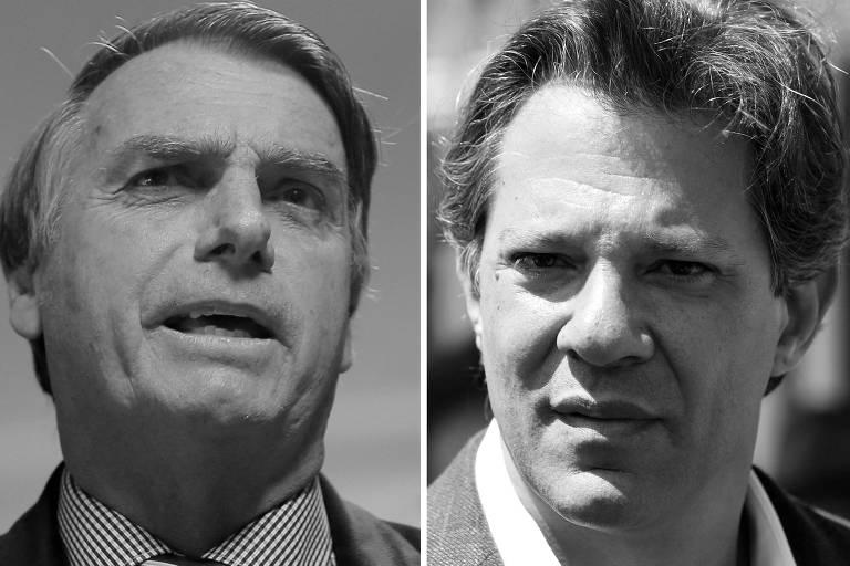 Jair Bolsonaro (PSL) e Fernando Haddad (PT), candidatos à Presidência da República