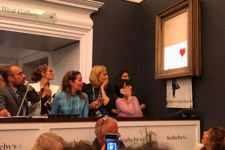Obra de Banksy se autodestrói logo após ser vendida por 1 milhão de libras