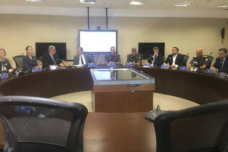 Reunião do Gabinete de Gestão de Crise na área de segurança do Rio, acionado neste fim de semana para as eleições
