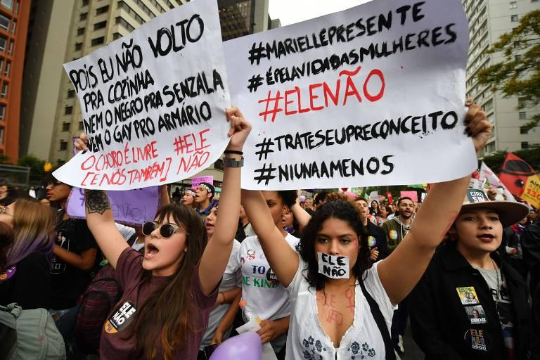 São Paulo recebe protesto anti-Bolsonaro um dia antes da eleição
