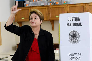 Former Brazilian president and senate candidate Dilma Rousseff of Brazil's leftist Workers Party (PT), casts her vote in Belo Horizonte