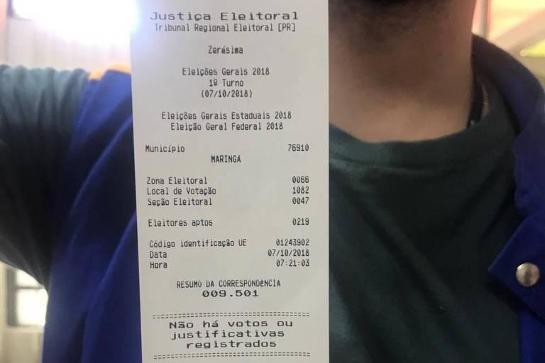 Relatório de urna, a zerésima, da seção eleitoral em Maringá (PR) em que uma mesária espalhou falsa informação sobre fraude