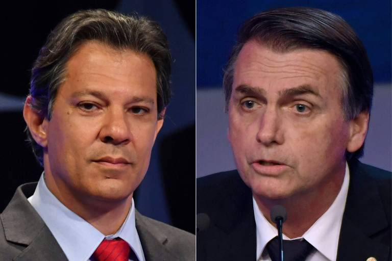 Fernando Haddad, do PT, e Jair Bolsonaro, candidato a presidente pelo PSL