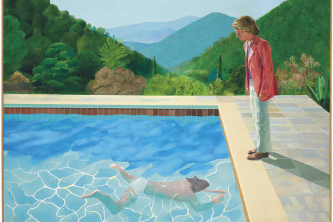 This undated photo provided by Christie's Images Ltd. 2018, shows a painting by David Hockney entitled