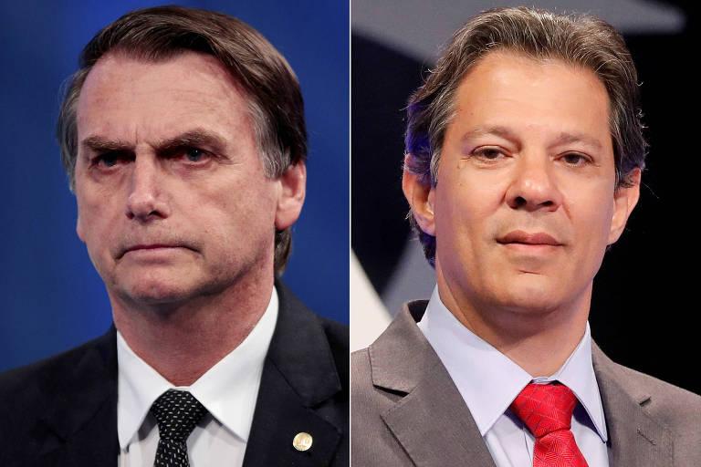 Os candidatos Jair Bolsonaro (PSL) e Fernando Haddad (PT), que disputam o segundo turno das eleições presidenciais