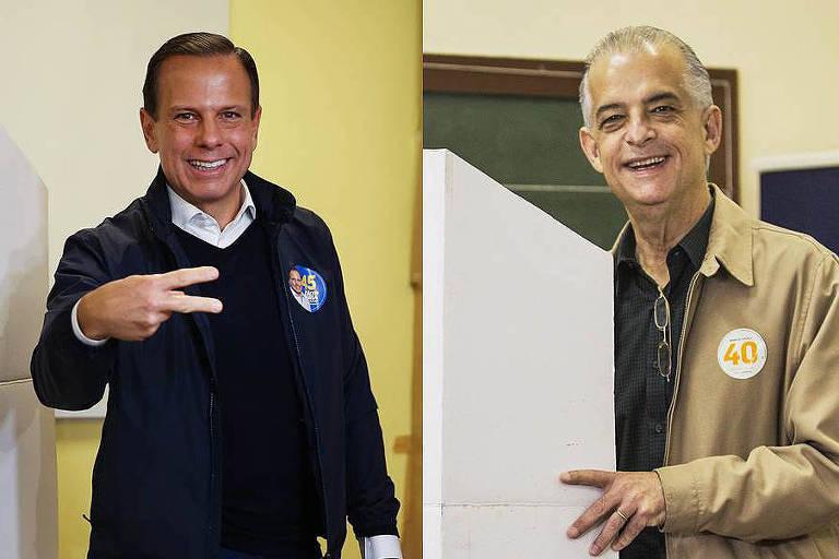 João Doria (PSDB) e Márcio França (PSB), que vão disputar o segundo turno da eleição para o governo de São Paulo