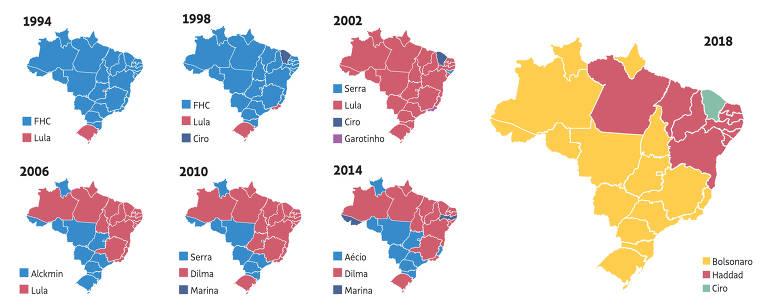 mapa de evolucão da votação