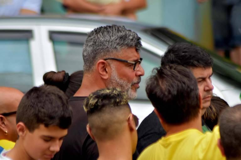 O ator Alexandre Frota durante protesto em apoio à candidatura de Bolsonaro