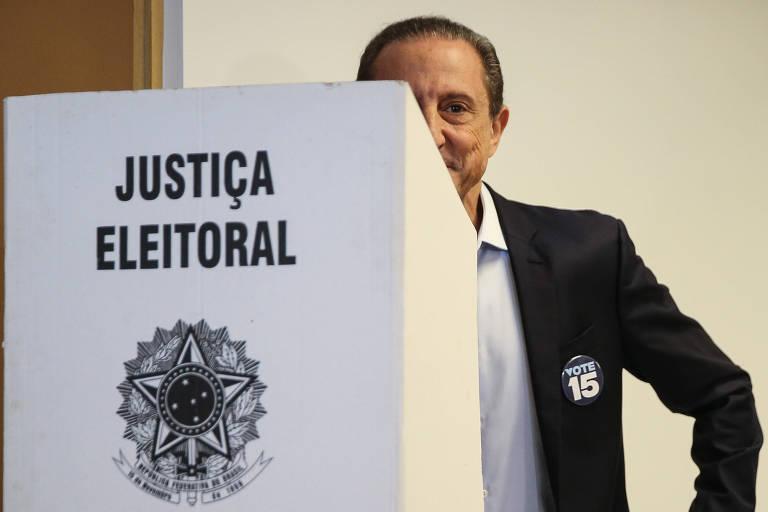 O candidato ao governo de São Paulo, Paulo Skaf (MDB), durante votação