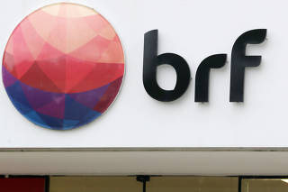 FILE PHOTO: A meatpacking company BRF SA's logo is pictured in Sao Paulo