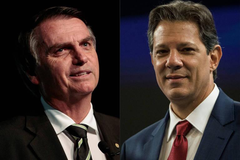 Os candidatos Jair Bolsonaro (PSL) e Fernando Haddad (PT), que disputarão o segundo turno