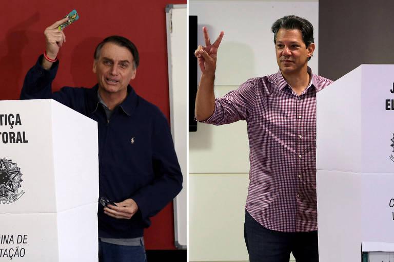 Os candidatos Jair Bolsonaro (PSL) e Fernando Haddad (PT) votam no 1º turno