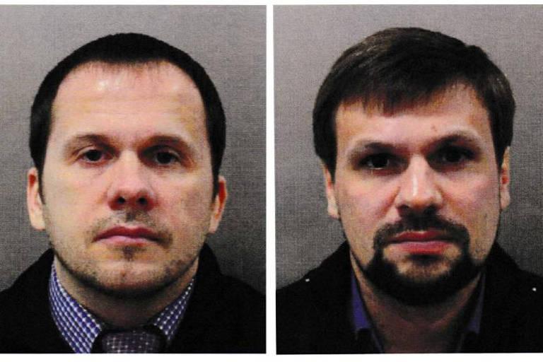 Mishkin e, ao lado direito dele, Anatoliy Chepiga, identificado pelas autoridades britânicas como Ruslan Boshirov