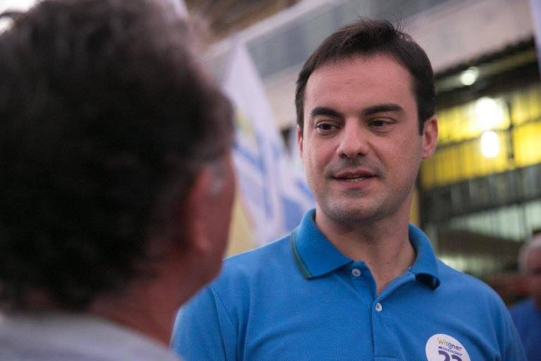O deputado federal Capitão Wagner durante a campanha eleitoral de 2016