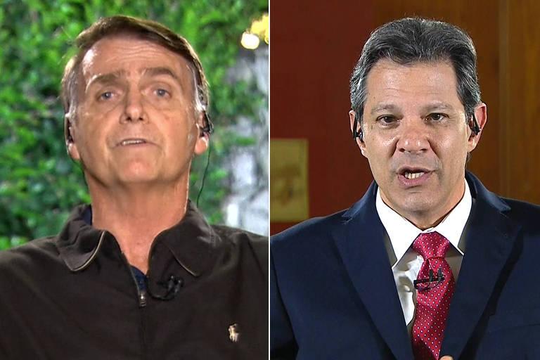 Jair Bolsonaro (PSL) e Fernando Haddad (PT) em entrevista para Globo