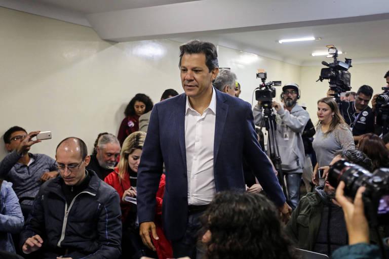 Bolsonaro e Haddad no segundo turno das eleições de 2018